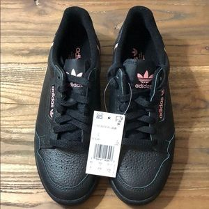 NWT Women's Adidas Continental 80 Black/Pink US6